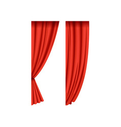 Two red silk or velvet theatrical curtains for vector