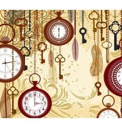 Vintage grungy background with keys and watches vector image