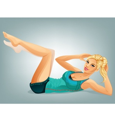 Woman Doing Crunches vector image vector image