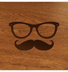 Wooden background with hipster symbol vector