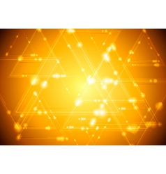 Yellow shiny tech background vector image vector image