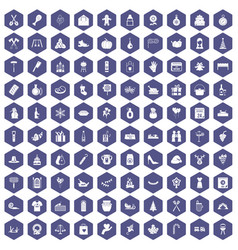 100 family tradition icons hexagon purple vector image