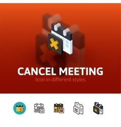 Cancel meeting icon in different style vector