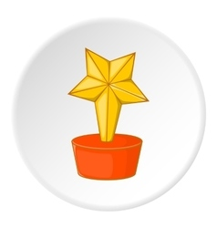 Gold cup star icon cartoon style vector image
