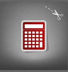 Calculator simple sign  red icon with for vector