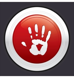 Hand stop button red round sticker vector