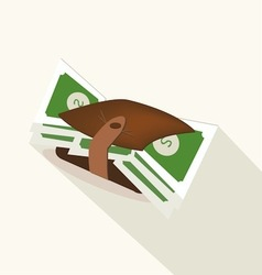 Wallet with dollar banknotes vector