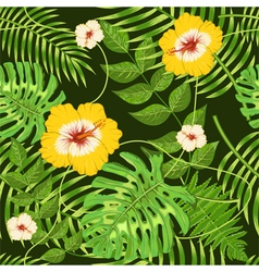 Seamless pattern with exotic tropical leaves vector
