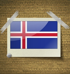Flags iceland at frame on a brick background vector