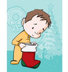 Kid with christmas stocking vector