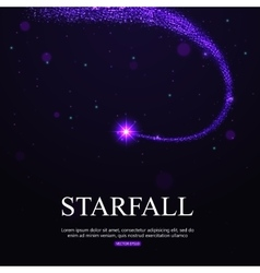 Shining falling star in the night sky vector