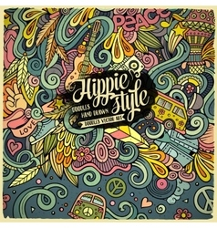 Cartoon hand-drawn doodles hippie vector