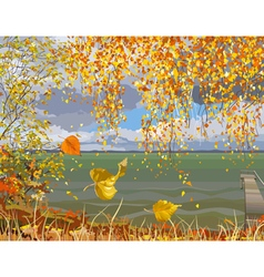 Autumn landscape river in fall of the leaves vector