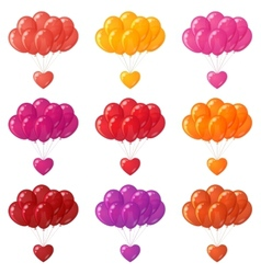Balloons bunches with hearts set vector image vector image