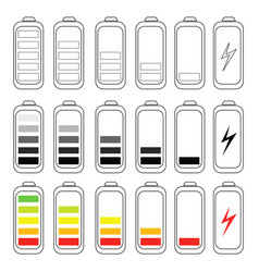 battery charge levels set vector image vector image