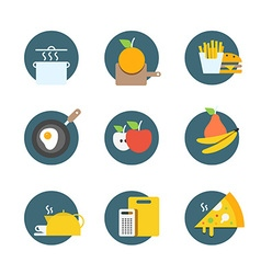 Different food icons collection Flat icons set vector image