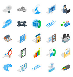 Electric light icons set isometric style vector