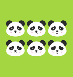 Emotional panda faces vector