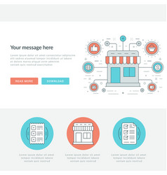 Flat line business concept web site header vector
