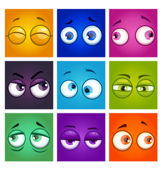 funny colorful comic square avatars vector image
