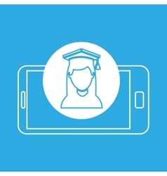 Girl graduated mobile device education vector