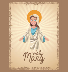 Holy mary spiritual card vector
