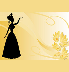 leaflet background with black victorian lady vector image