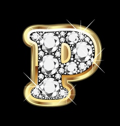 letter p gold and diamond vector image vector image