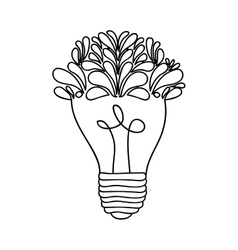 Lightbulb with leaves icon image vector