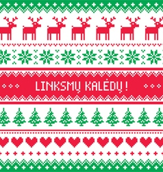 Linksmu Kaledu - Merry Christmas greetings card vector image vector image