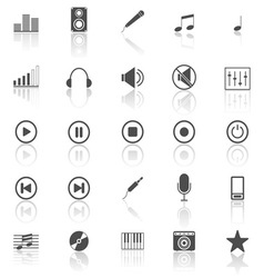 Music icons with reflect on white background vector image vector image