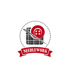 needle and button badge for tailor shop design vector image