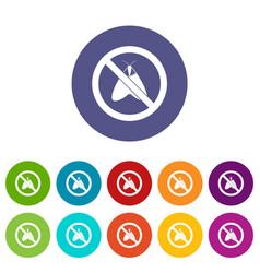 No moth sign set icons vector