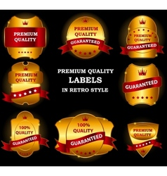 Quality Labels in retro vintage design vector image vector image