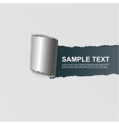 ripped white paper on dark background vector image vector image
