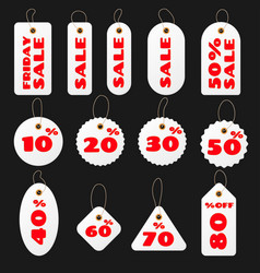 set of white round and square sale price tags and vector image