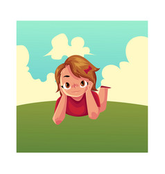 Teenage girl with short hair lying on grass vector