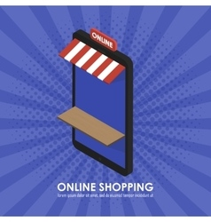 The concept isometric telephone store shopping vector