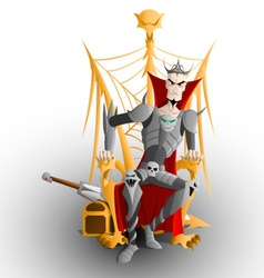 Tsar koschey sitting on the golden throne vector