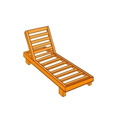 Wooden chaise lounge icon cartoon style vector