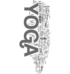 Yoga learn text word cloud concept vector