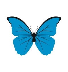 Blue butterfly icon in flat style vector