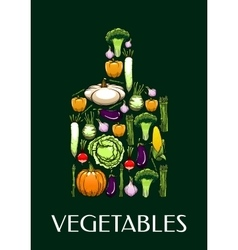 Cutting board icon with healthy vegetables icons vector