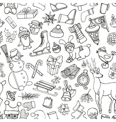 Christmas seasondoodle symbolsseamless pattern vector