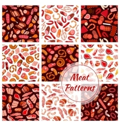 Meat butcher shop sausages seamless patterns vector