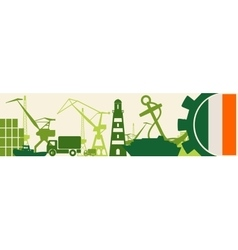 Cargo port ireland flag in gear vector