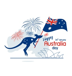 Australia day design of kangaroo and flag with fir vector