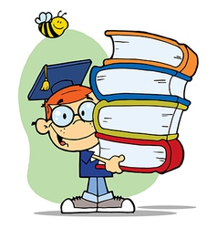 Bee over a graduation boy with books vector