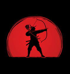 Samurai warrior with bow bowman archer fighter vector