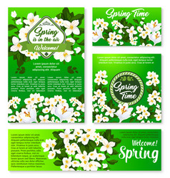 spring floral template for card and banner design vector image